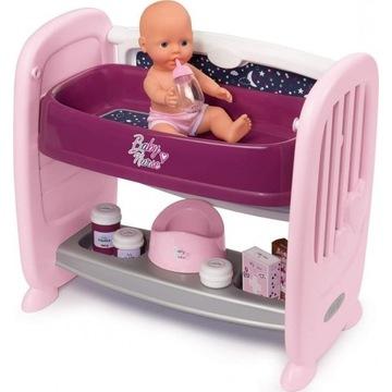 SMOBY BABY NURSE Łóżeczko dla lalki 2w1 + LALKA
