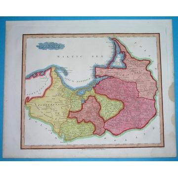 1828 MAPA POLSKA Warmia GDAŃSK OLSZTYN TORUŃ oryg.