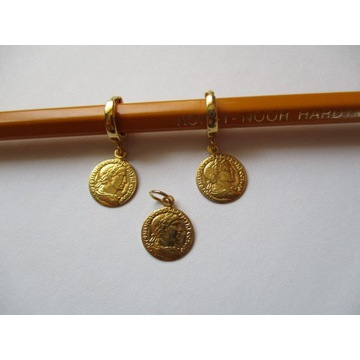 Kolczyki monety monetka srebro 925 złote boho chic