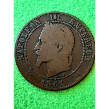 10 CENTIMES 1861 FRANCJA