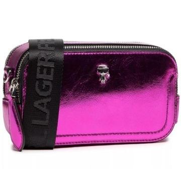 Różowa torebka KARL LAGERFELD 210W3077 Metallic F