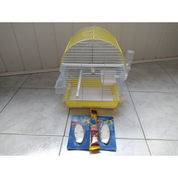 mała klatka dla ptaków + wyposażenie 30 x 38 x 32
