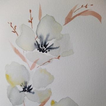 Obraz, Akwarela - Kwiaty abstrakcja.