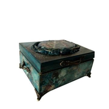 Pudełko drewniane szkatułka blue
