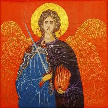 Anioł Stróż, obraz, ikona, 20x20cm, czerwony