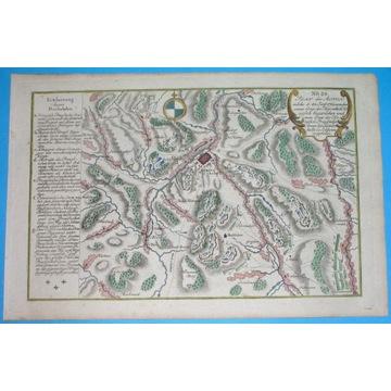 1762 rare MAPA ŚLĄSK Kamienna Góra Landeshut bitwa