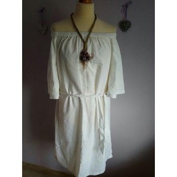 Nowa Lniana biala sukienka boho rozmiarM/L