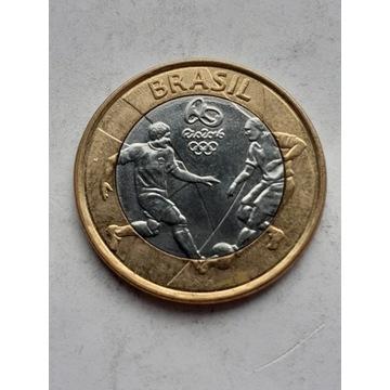 Moneta Brazylia 1 real Olimpiada . Futbol
