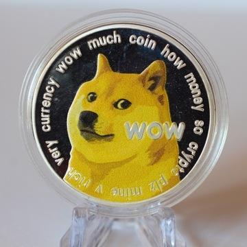 Moneta Dogecoin w kolorze srebrnym