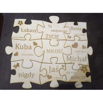 Puzzle rodzinne (5 osób), Decoupage.
