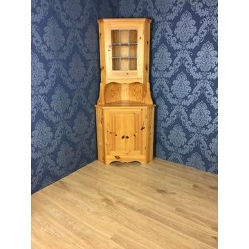 Drewniana komoda narożna, witryna drewniana s bdb