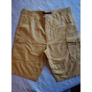 Krótkie,lniane spodnie. Kolor słonecznikowy 34