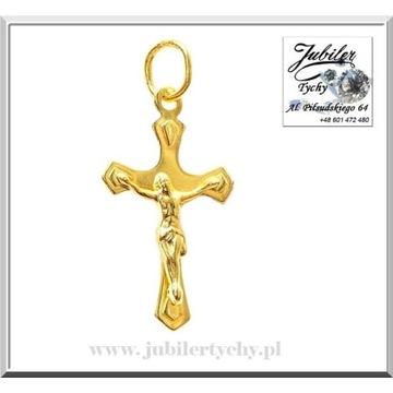 Złota zawieszka Jezus Chrystus na krzyżu Au585