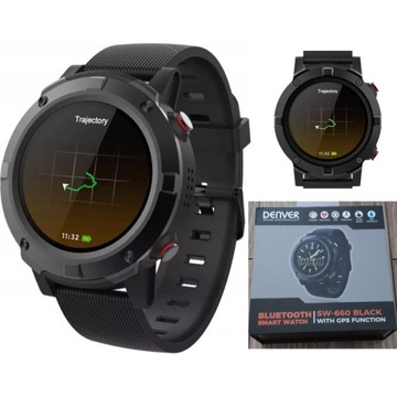 Smartwatch Denver SW-660 GPS AMOLED Czarny NOWY