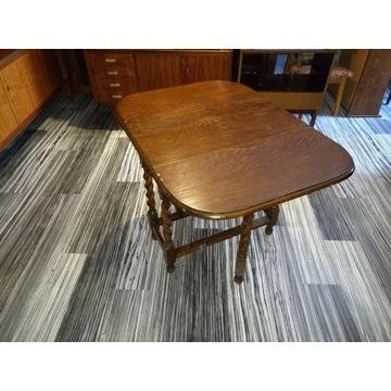 Wspaniały stolik z blatem składanym, kręcone nogi!