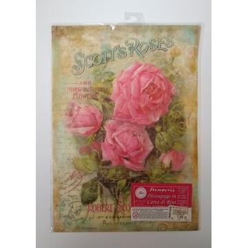 Papier ryżowy Stamperia A4 róże, kwiaty