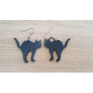 Kolczyki handmade czarne koty