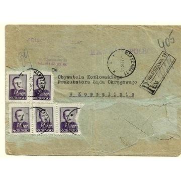 Koperta z 1949r (sfatygowana) z 5 znaczkami nr 474