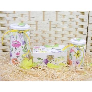 Komplet słoiki szkatułka kwiaty decoupage prezent
