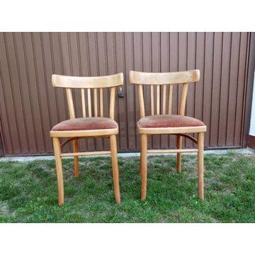 Stare drewniane krzesła z siedziskiem ( PRL )