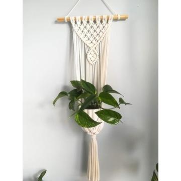 Kwietnik makrama ecru ze sznurka wiszący