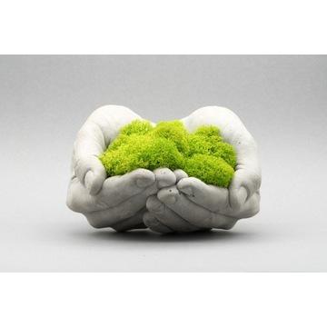 Dekoracja z mchu / Betonowe ręce + mech chrobotek
