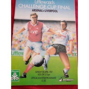Program z meczu ARSENAL-LIVERPOOL 1987