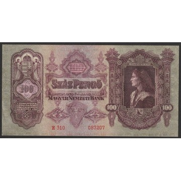 Węgry 100 pengo 1930 - E 310 - stan bankowy UNC -