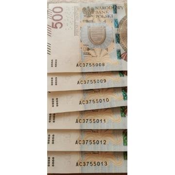 Banknoty 500zl seria AC seria
