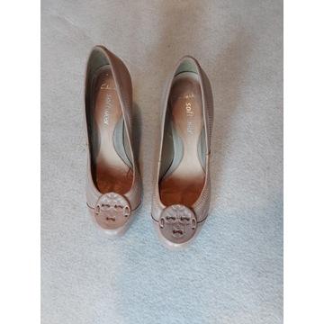 CLARKS pantofle skóra roz.39,5