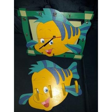 zegar i wieszak rybka Florek drewniane