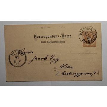CP 6 Karta Korespondencyjna KOŁOMYJA 1889
