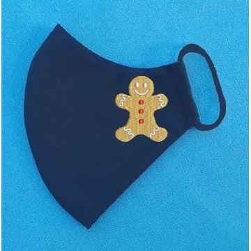 Maseczka ochronna z haftem świąteczna, na święta