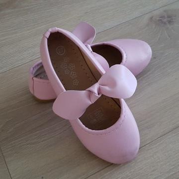 Baletki baleriny pudrowe różowe kokarda rozm. 27