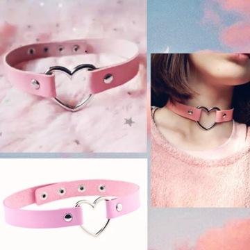 Choker obroża pastel goth dusik różowy lolita