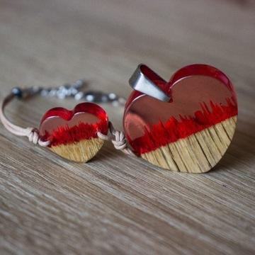 Biżuteria wisiorek bransoletka z drewna i żywicy