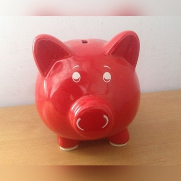 Skarbonka - świnka, czerwona, ceramiczna