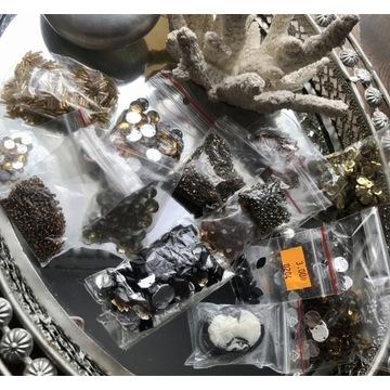 Mix koralików złote cekiny perły
