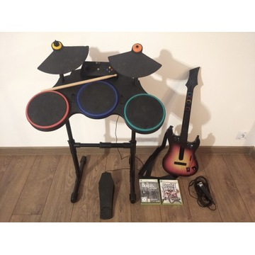 GUITAR HERO zestaw perkusja, gitara, mikrofon, gry