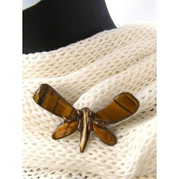 Prezent handmade: Broszka motyl tygrysie oko