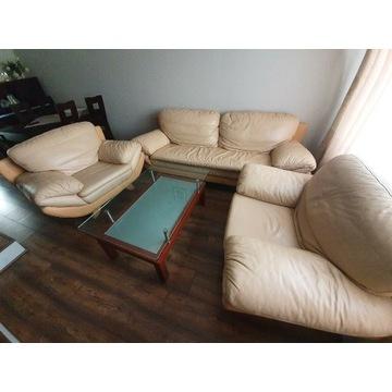 Komplet mebli, kanapa fotele skorzane