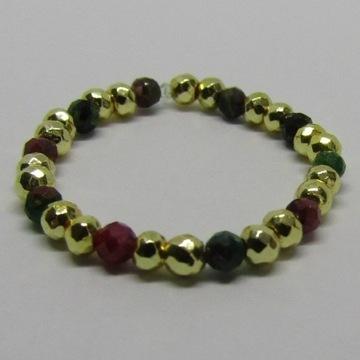 Pierścionek z koralików - rubin-szmaragd- handmade