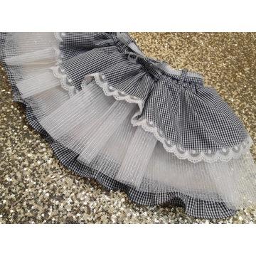 Spódnica tiul biel bawełna krata koronka handmade