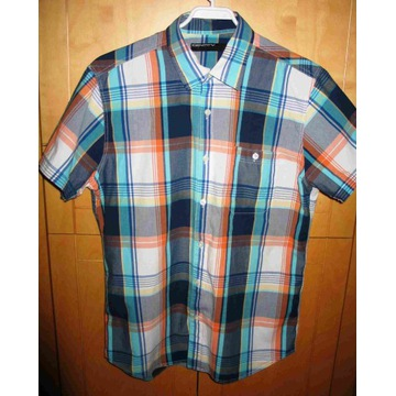 Koszula męska w kratę Identity roz M bawełna krótk