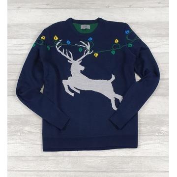 M&S męski sweter świąteczny z reniferem rozm XL