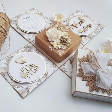 Złoty EXPLODING BOX ślubny kartka ślubna