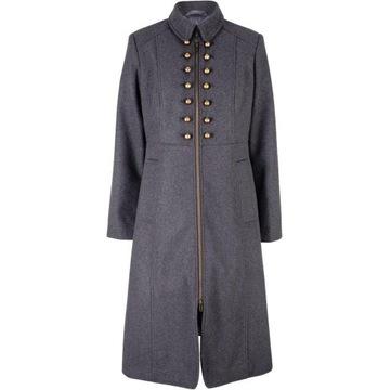 Szary płaszcz w stylu wojskowym, ozdobne guziki 38