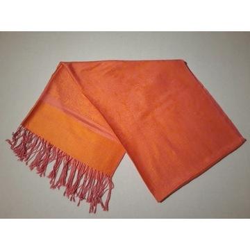 Pashmina/jedwab duży pomarańczowy szal z frędzlami