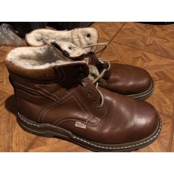 Brązowe buty męskie skórzane zimowe ocieplane