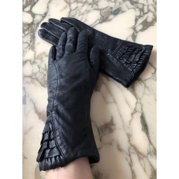 Rękawiczki dłuższe czarne stylowe r.7